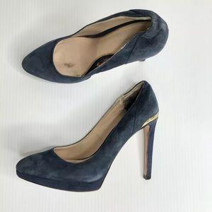 ZARA WOMAN blue suede heels